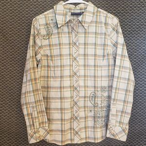 Denim & Co. Long Sleeve Pearl Snap Button Up Shirt